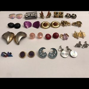 VINTAGE RETRO 1980'S? CLIP ON EARRINGS LOT 19PRS